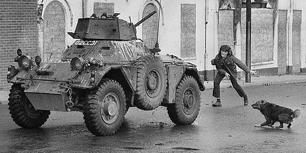An army Ferret tank in the Belfast Troubles, which Paul Donzo Donnelly discusses in the online experience