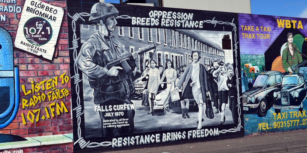 Mural on the international peace wall Belfast