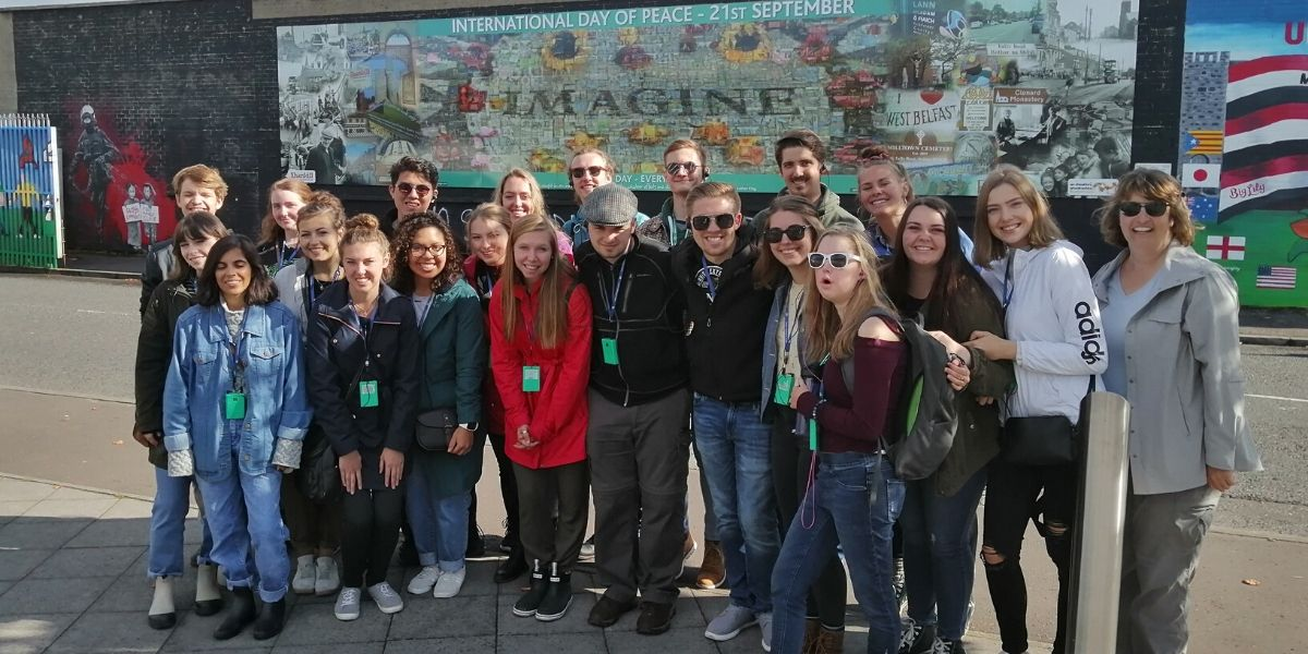 One of our Belfast Group Tours at the International Peace Wall in Belfast