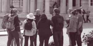Tour group at the front of Belfast City Hall