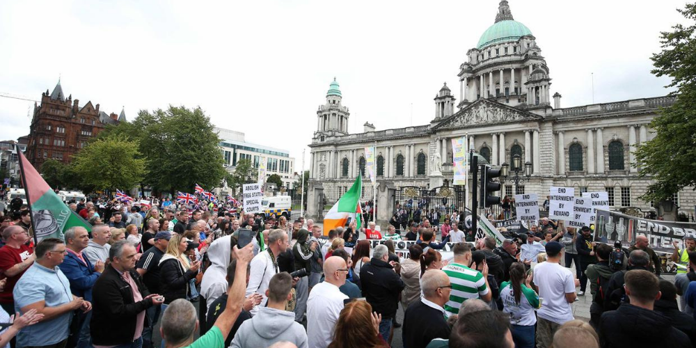 Internment parade, City Hall Belfast